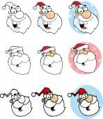 Happy Santa Faces — Stock Vector