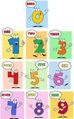 Funny Friendly Comics Numbers — Stock Vector