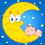 Baby Girl Sleeps On  Moon — Stock Vector #61063871