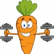 Carrot Exercising With Dumbbells. — Stock Vector #61064619