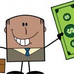 Businessman Holding A Dollar Bill — Stock Vector #61069861