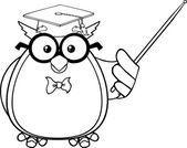 Wise Owl Teacher Character — Stock Vector