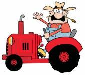 Happy Farmer In Red Tractor — Stock Vector
