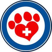 Veterinary Love Paw Print — Cтоковый вектор