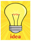 Light Bulb With  Idea — Stock Vector