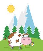 Mountain Dairy Cow With Flower — Stock Vector