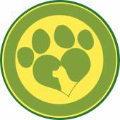 Love Paw Print Green Circle — Stock Vector