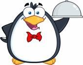 Waiter Penguin Serving Food — Stock Vector