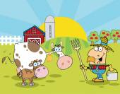 Farm Scene With Cows And Cowman — Stock Vector