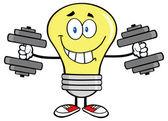 Light Bulb  Training With Dumbbells — Stock Vector