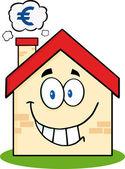 Casa con il simbolo dell'euro. — Vettoriale Stock