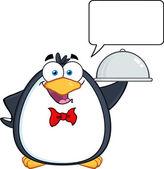Penguin Serving Food On A Platter — Stock Vector