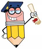 Happy Pencil  Holding A Diploma — Stockvector