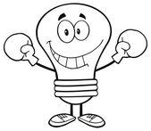 Light Bulb Wearing Boxing Gloves. — Stockvektor