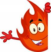 Cute Fire Cartoon with  Blank Sign — Vettoriale Stock
