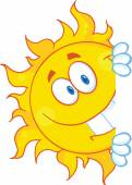 Sun Character with white board — Stockvector