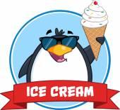 Penguin With Sunglasses And Ice Cream — 图库矢量图片