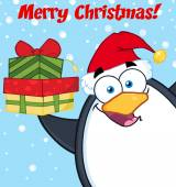 Merry Christmas With Penguin — Stock Vector