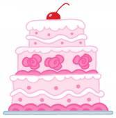 Triple Tiered Wedding Cake — Stock Vector