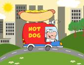 Hot Dog Driving Truck In The Town — Stock Vector