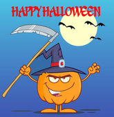 Halloween Pumpkin With Scythe — Stock Vector