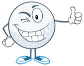 Winking Golf Ball with Thumb Up — Stock Vector