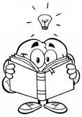 Brain Reading A Book — Stock Vector