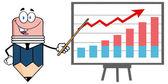 Business Pencil  Presenting A Progressive Chart — Stock Vector