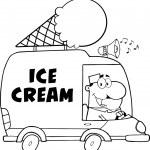 Ice Cream Man Driving Truck. — Stock Vector #61073221
