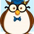 Wise Owl Teacher With Glasses — Stock Vector #61074201