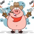 Cowboy Pig With Two Guns. — Stock Vector #61079275