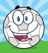 Soccer Ball Character On Grass. — Vector de stock