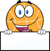 Basketball Character Over Blank Sign. — Stock Vector