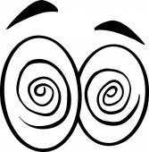 Hypnotized Cartoon Eyes. — Stock Vector