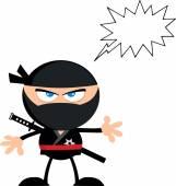 Сердиться ниндзя воин мультипликационный персонаж — Cтоковый вектор