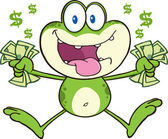 Crazy Frog Jumping With Cash. — Stock Vector