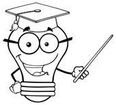 Light Bulb Teacher  With A Pointer — Stock Vector