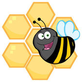 Bee with Orange Bee Hives — Stock Vector