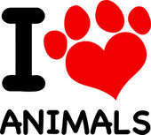 I Love Animals With Paw — Vettoriale Stock