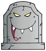 Laughing Tombstone Character — Stock Vector