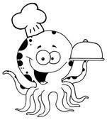 Octopus Chef Serving Food — Stock Vector
