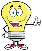 Light Bulb  Giving A Thumb Up — Stock Vector