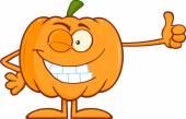 Halloween Pumpkin  Giving A Thumb Up — Stock Vector