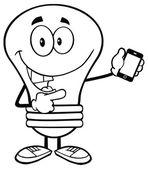Light Bulb Holding A Mobile Phone — Stockvektor