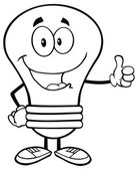 Light Bulb with Thumb Up — Vetor de Stock