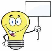 Light Bulb with Blank Sign — Stock Vector