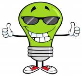 Green Light Bulb With Sunglasses — Stock Vector