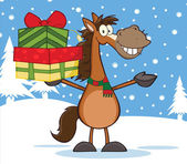 Smiling Horse Holding Up Gifts. — Stock Vector