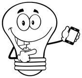 Light Bulb Holding A Mobile Phone — Stock Vector