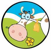 Cartoon-Logo-Maskottchen - Bauernhof Kuh — Stockvektor